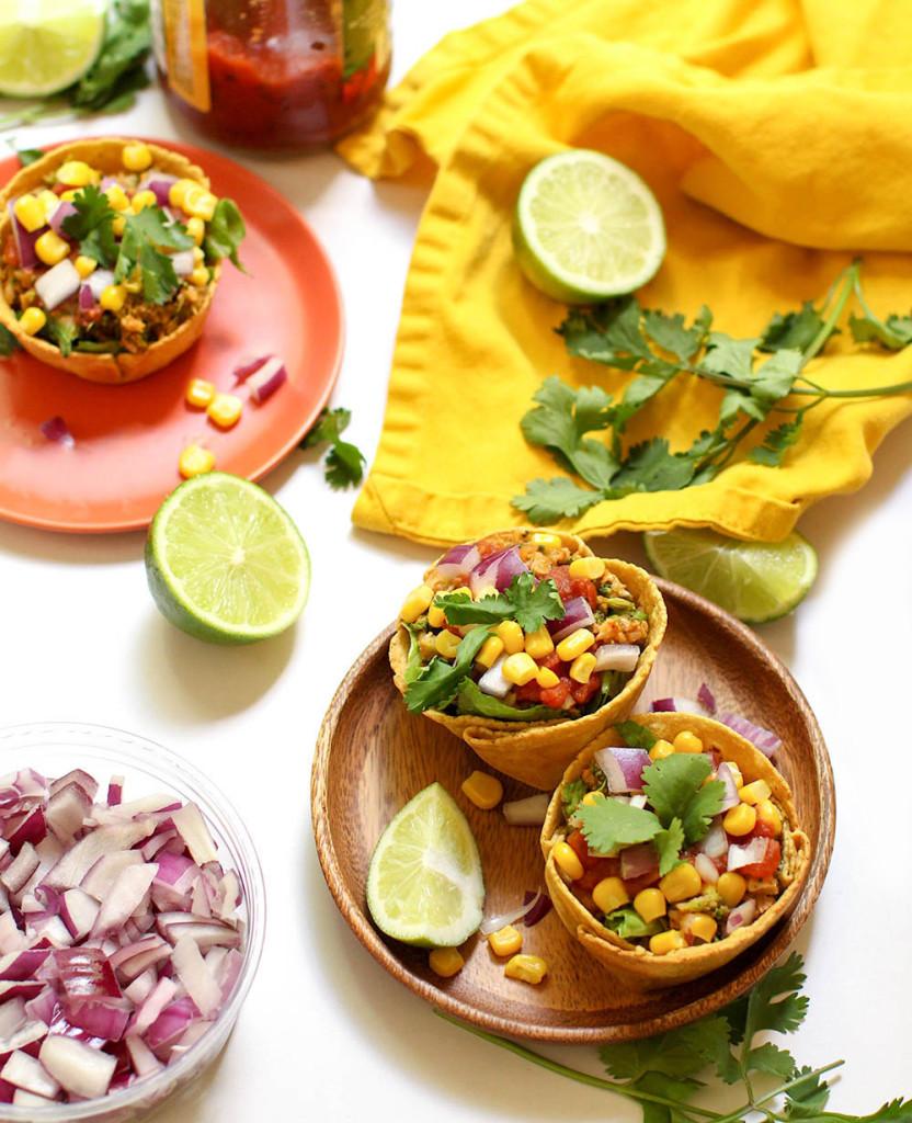 Vegan Taco Salad Cups - FeastingonFruit.com