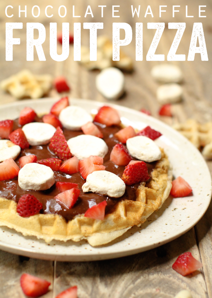 Chocolate Waffle Fruit Pizza - FeastingonFruit.com