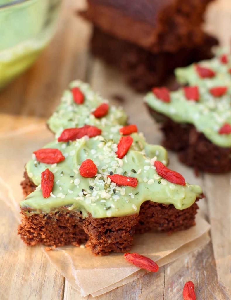 Vegan Christmas Tree Brownies - FeastingonFruit.com