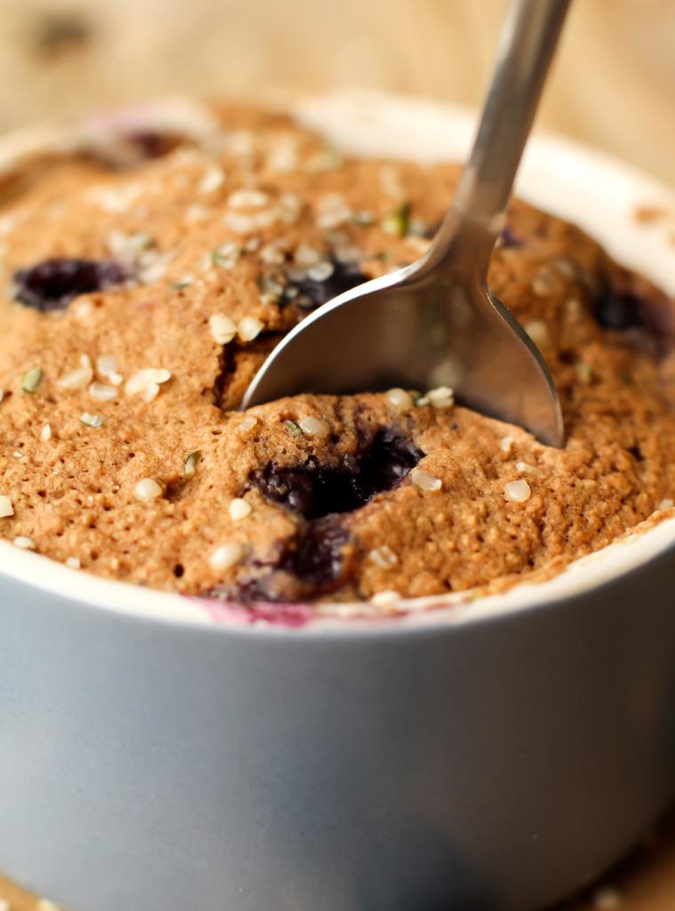 Blueberry Muffin in a Mug (vegan + gluten-free) - FeastingonFruit.com