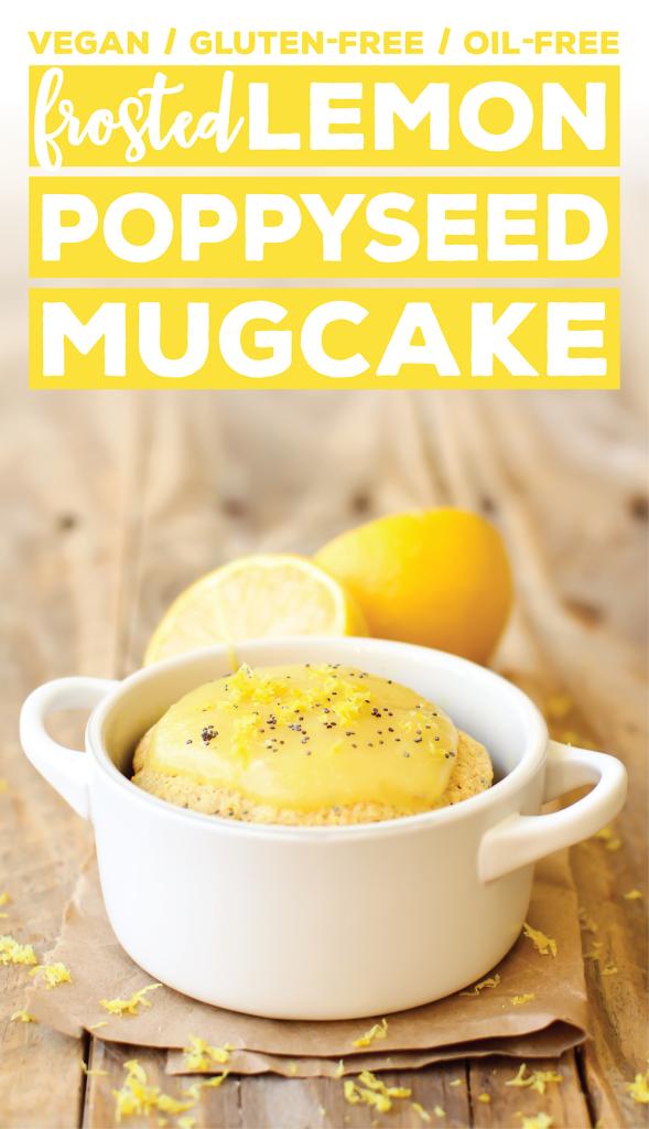 Frosted Lemon Poppy Seed Mug Cake | Gluten-Free & Oil-Free
