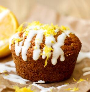 Vegan Lemon Poppy Seed Muffins (gluten-free + oil-free) - FeastingonFruit.com