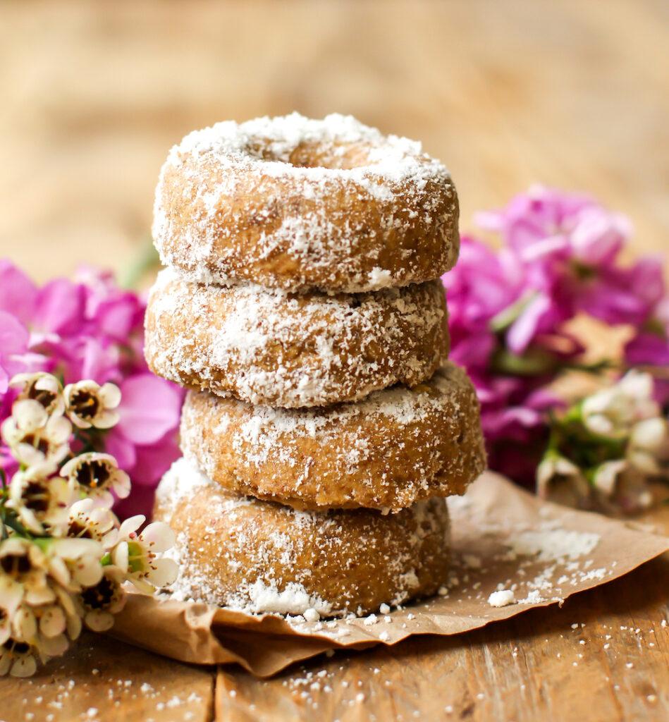 Mini Powdered Vegan Baked Donuts - FeastingonFruit.com