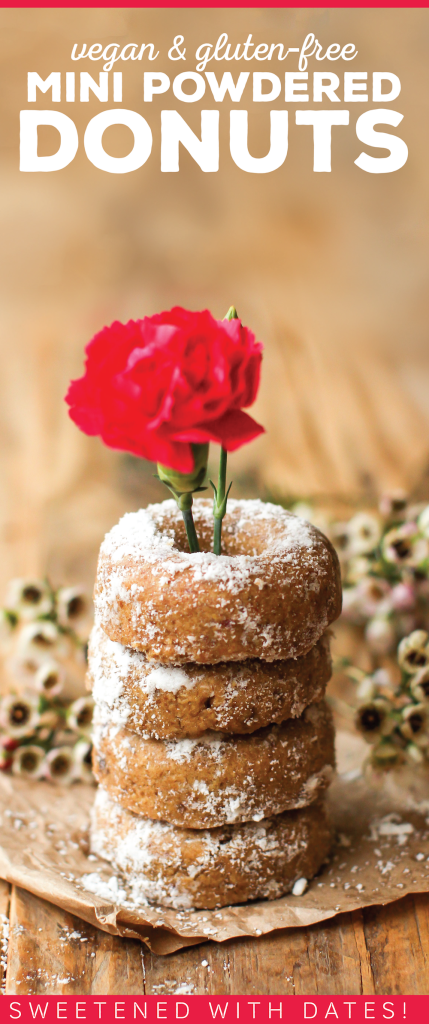 Mini Powdered Baked Vegan Donuts - FeastingonFruit.com