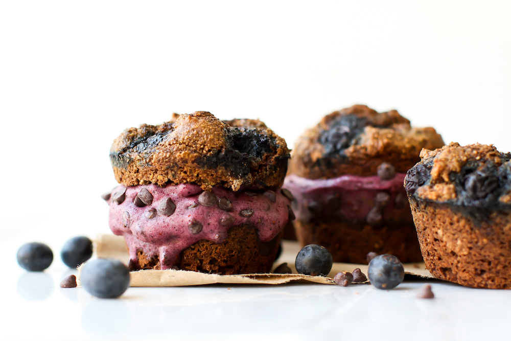 Chocolate Blueberry Muffins Turned Ice Cream Sandwich {vegan & gf}