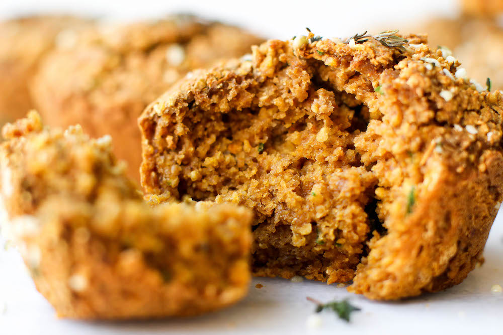 Sweet Potato & Herb Savory Muffins | Vegan, Gluten-Free, Oil-Free