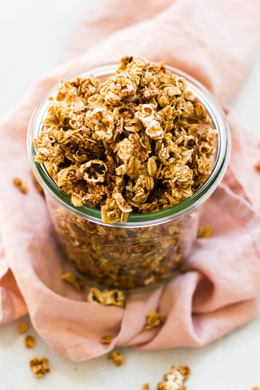 5 Ingredient Popcorn Granola {vegan, gluten-free, oil-free}