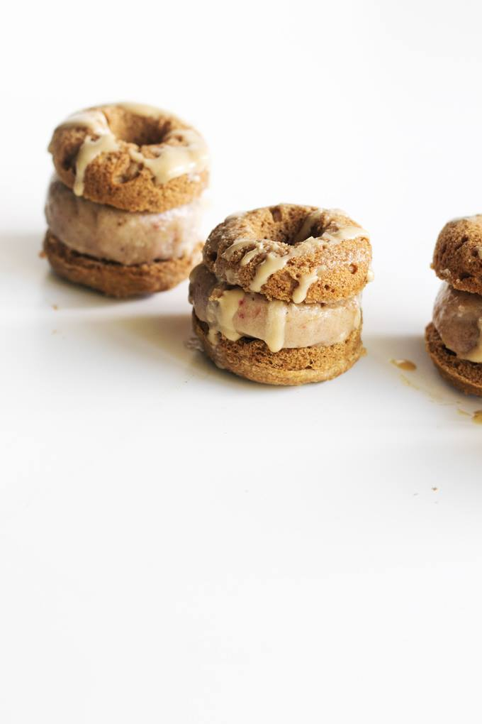 Ginger Rhubarb Mini Donut Ice Cream Sandwiches