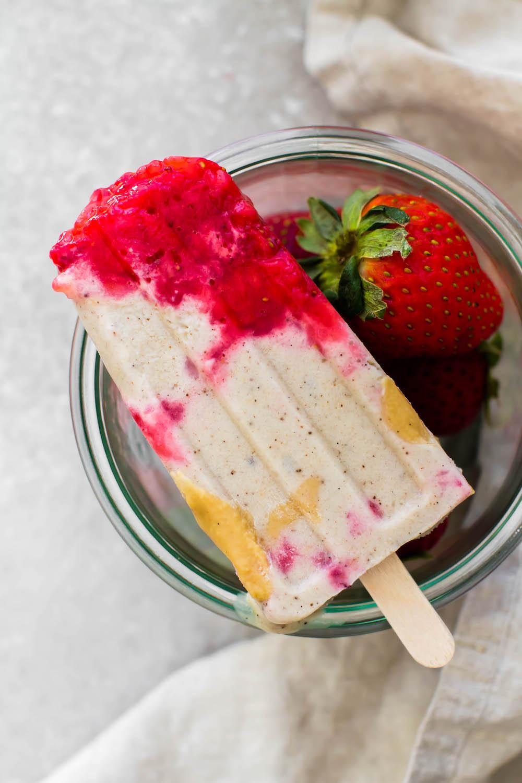 Strawberry Tahini Ice Cream Pops