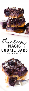 Blueberry Magic Cookie Bars (vegan & paleo)