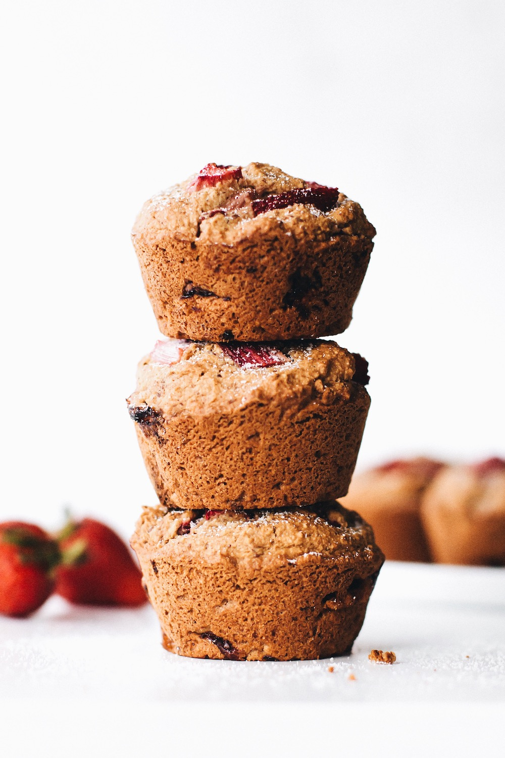 Strawberry Rhubarb Muffins (vegan + gluten-free)