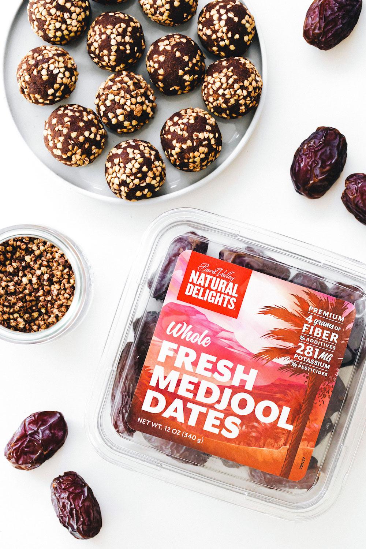 Medjool Date Buckwheat Brownie Crunch Balls