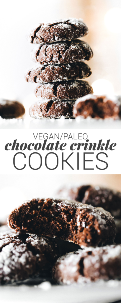 Chocolate Crinkle Cookies (vegan + paleo)
