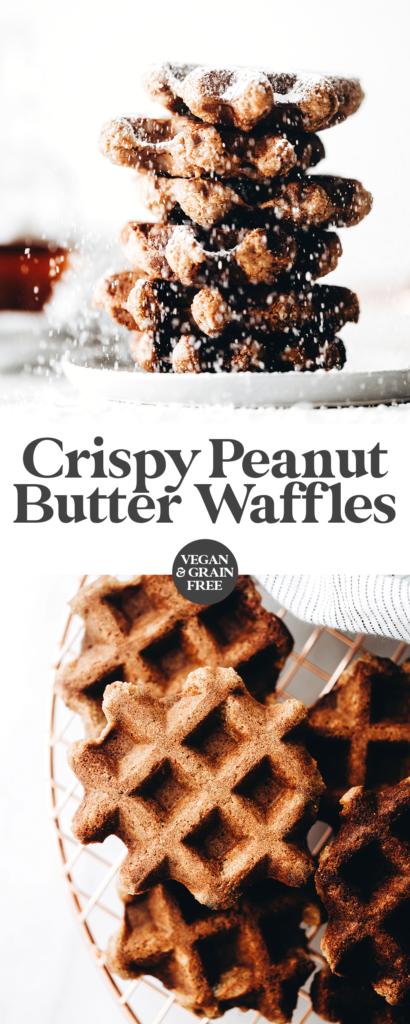 Crispy Peanut Butter Waffles (vegan + grain-free)