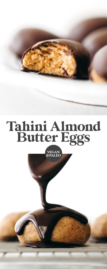 Tahini Almond Butter Chocolate Eggs (vegan + paleo)