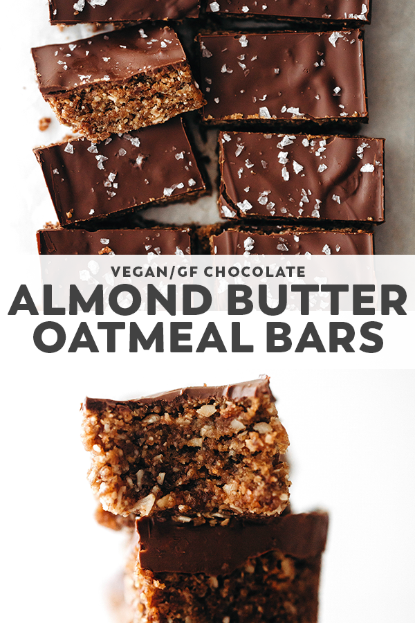 Chocolate Almond Butter Oatmeal Bars Pin