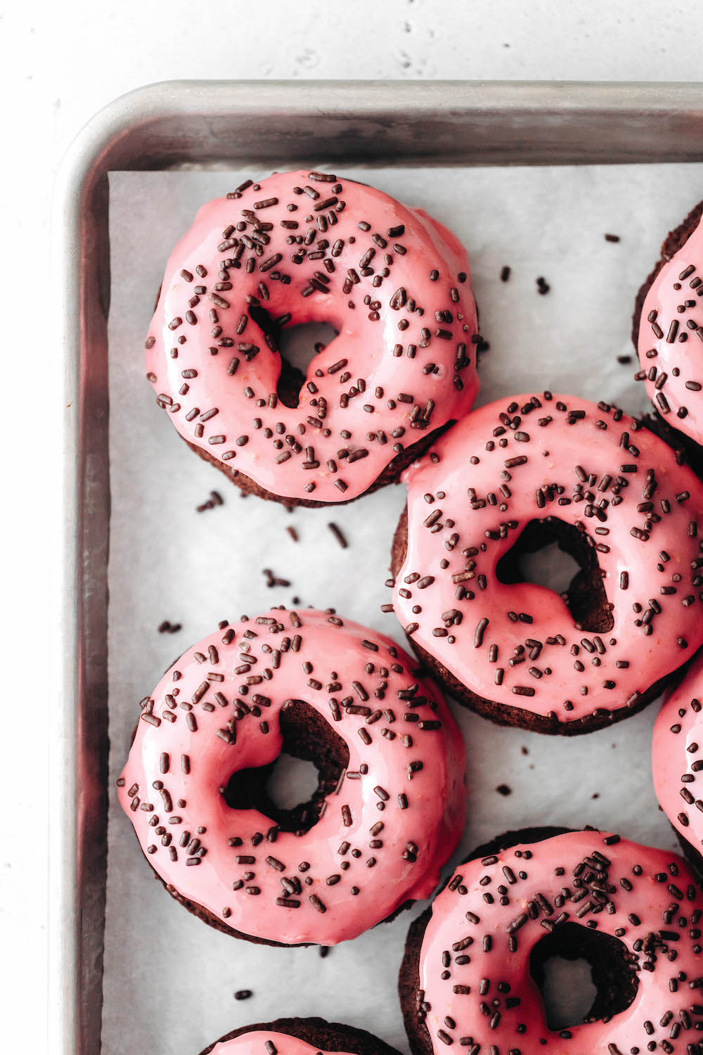 Raspberry Glazed Chocolate Donuts (vegan + gf)