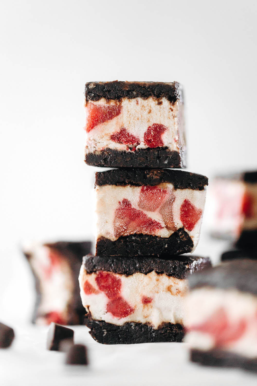 Roasted Strawberry Brownie Ice Cream Sandwiches