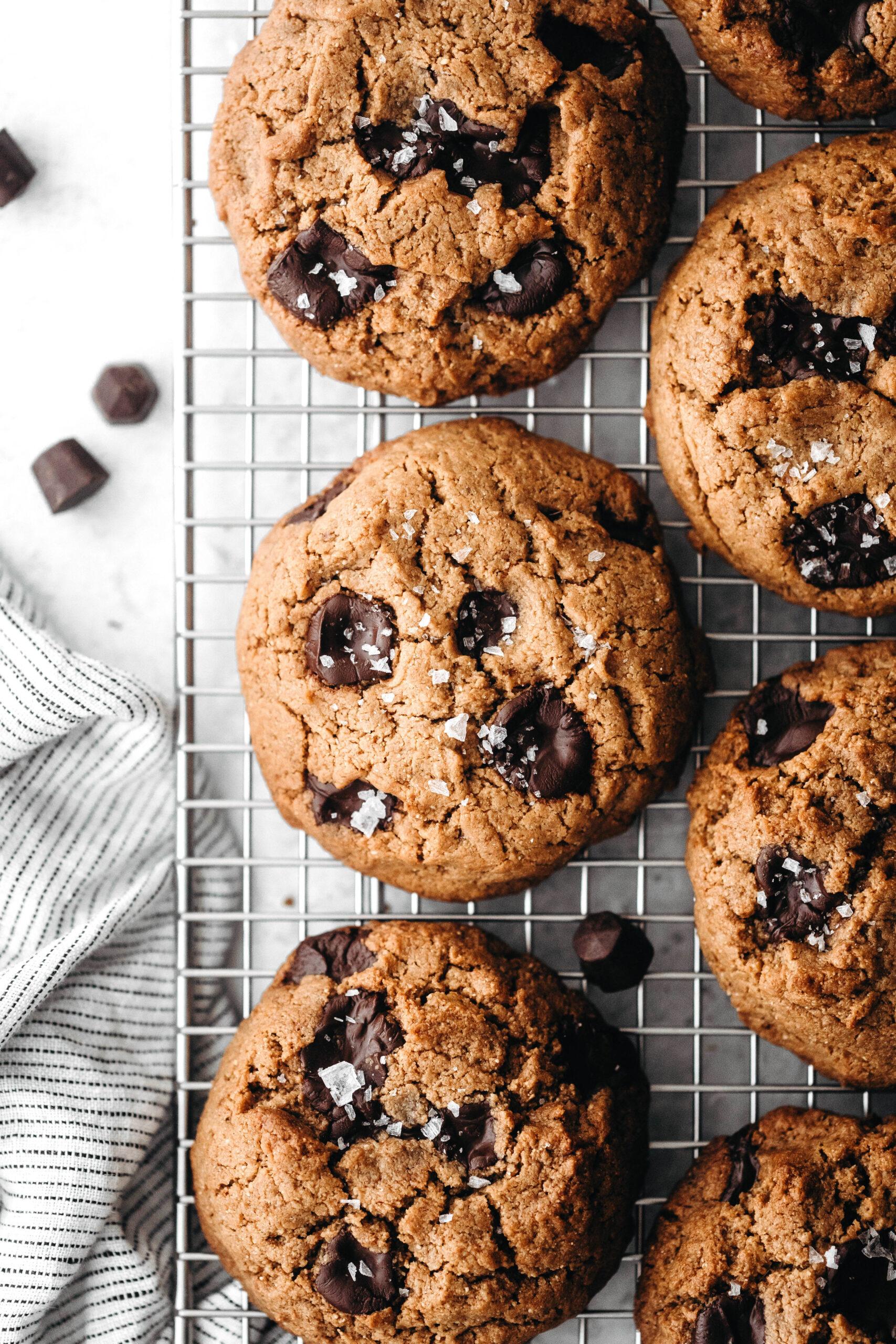 Thick Chewy Chocolate Chip Cookies (vegan + paleo)