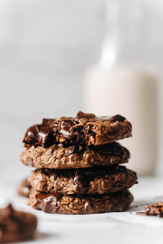 Double Chocolate Oatmeal Cookies (vegan + gluten-free)