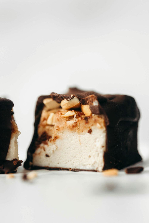 Caramel Cashew Ice Cream Bars (vegan + paleo)